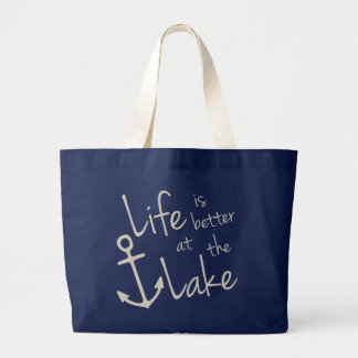 life is better at the lake ラージトートバッグ