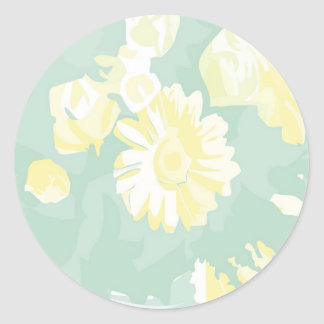 Lightshadeの黄色緑の花柄のテンプレート ラウンドシール