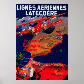 Lignes Aeriennes Latecoereのヴィンテージポスター ポスター