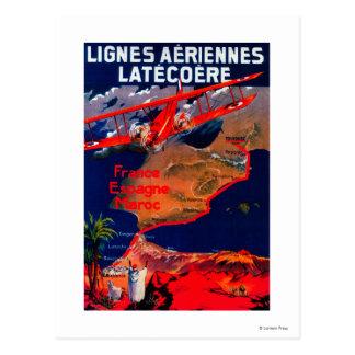Lignes Aeriennes Latecoereのヴィンテージポスター ポストカード