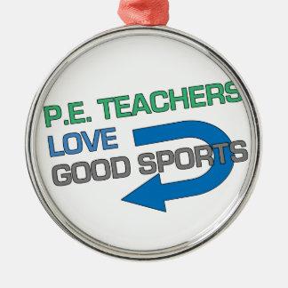 Like P.E. Teachersのよいスポーツ シルバーカラー丸型オーナメント