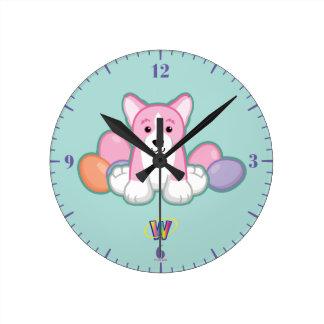 Lilの春のコーギーパターン ラウンド壁時計