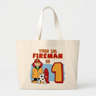 Lilの消防士の第1誕生日 ラージトートバッグ