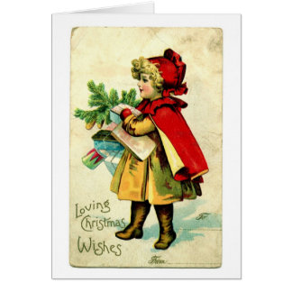 Lilの赤い乗馬フードのヴィンテージのクリスマスカード カード