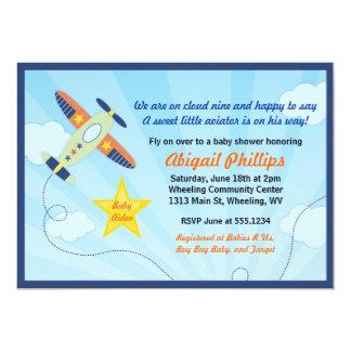 Lilの飛行士の飛行機のベビーシャワー招待状 カード