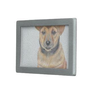 Li'lブラウンの子犬の絵画 長方形ベルトバックル