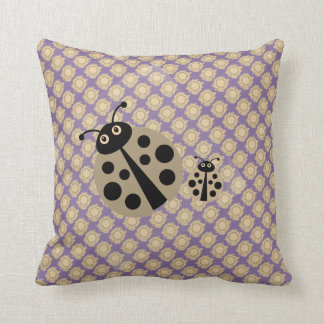 Lilac Summer Polka Dot Lady Bugs Pillow クッション