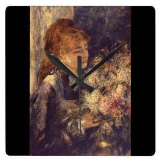 Lilacs_Impressionistsの女性 スクエア壁時計