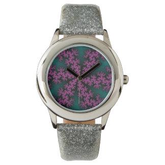 Lilypadのはす(ばちゃばちゃ)跳ねるのグリッターの腕時計 腕時計