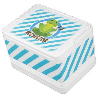 Lilypadの緑カエル; 青及び白のストライプ iglooクーラーボックス