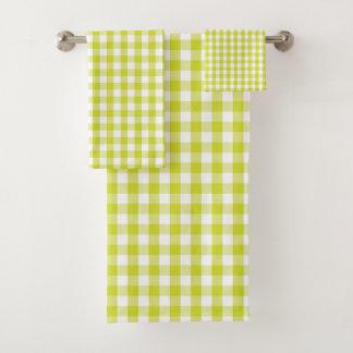 Lime Green Gingham Check Pattern バスタオルセット