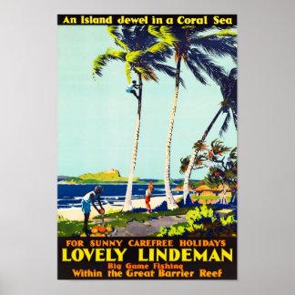 Lindemanの島のオーストラリアのヴィンテージ旅行ポスター ポスター