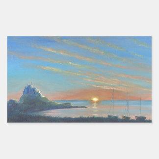 Lindisfarneの城の日の出 長方形シール