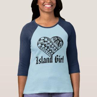 LineAの島の女の子の黒のポリネシアのハートの入れ墨 Tシャツ