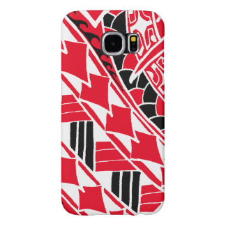 LineAの赤いポリネシアの入れ墨 Samsung Galaxy S6 ケース
