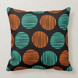 Lined Spots 190917 - Orange and Aqua on Black クッション