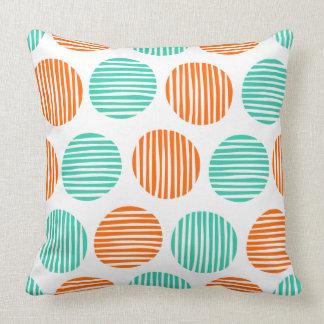 Lined Spots 190917 - Orange and Aqua on White クッション