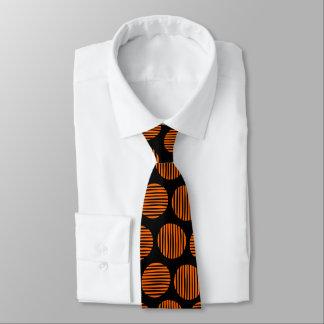 Lined Spots 190917 - Orange on Black カスタムネクタイ