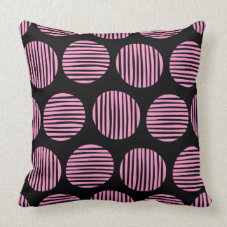Lined Spots 190917 - Pink and Black クッション