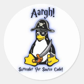 Linuxのタキシードのペンギンの海賊ステッカーの白いUbuntuのミント ラウンドシール