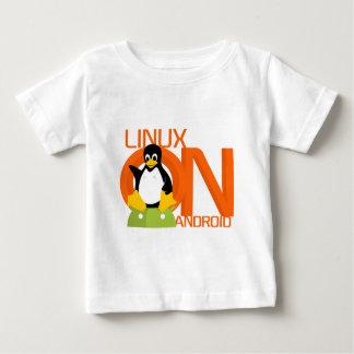 LinuxonAndroidの大きいロゴ ベビーTシャツ