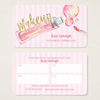 Lipglossのピンクのストライプな化粧のアポイントメントカード 名刺