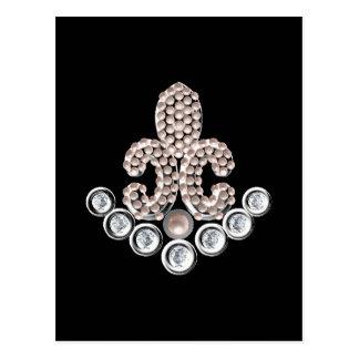 Lis宝石で飾られるフルーアDe ポストカード