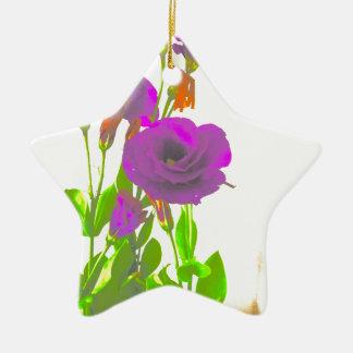 Lisianthusの紫色の花 セラミックオーナメント
