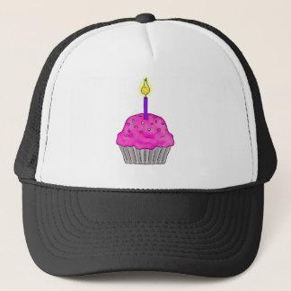 Litの蝋燭が付いているお洒落なカップケーキは振りかけます キャップ