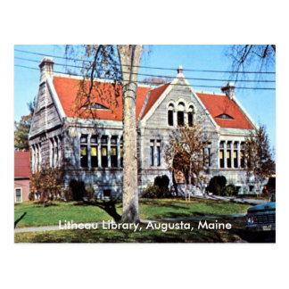 Litheauの図書館、オーガスタ、メインのヴィンテージ ポストカード