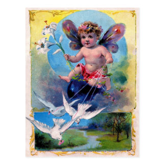 Lithoを広告するヴィンテージ-天使及び鳩 ポストカード