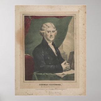 Lithoトーマス・ジェファーソン第3米国の大統領 ポスター