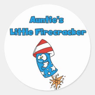 little Firecracker T-shirtsおよびギフト伯母さんの ラウンドシール