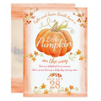Little pumpkin watercolor pregnancy announcement 12.7 x 17.8 インビテーションカード