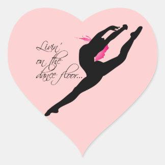 Livin|ダンス|床|ピンク|ダンサー ハート形シールステッカー