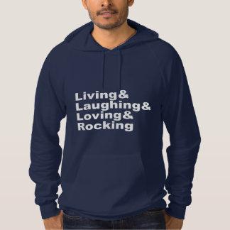 Living&Laughing&Loving&ROCKING (白い) パーカ