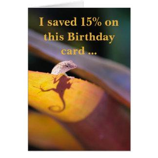 Lizard saved 15 percent カード