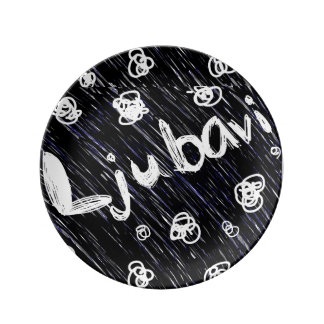 """""""Ljubavi""""の白黒(愛)装飾的なプレート 磁器プレート"""