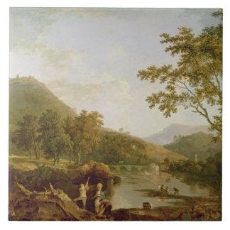Llangollen 1770-71年からのDinasのぬか(キャンバスの油 タイル
