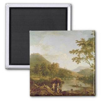 Llangollen 1770-71年からのDinasのぬか(キャンバスの油 マグネット