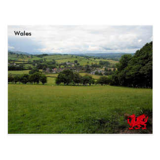 Llanigonの村、Powys、ウェールズ ポストカード