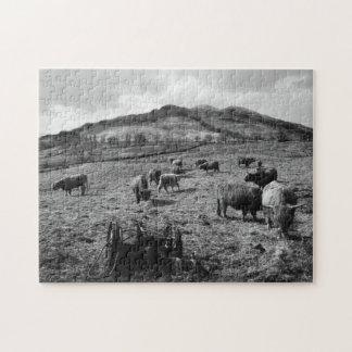 Loch Lomond、スコットランド著Tarbetの高地の牛 ジグソーパズル