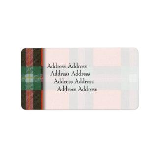 Lochbuieの一族の格子縞のスコットランド人のタータンチェックのMaclaine ラベル