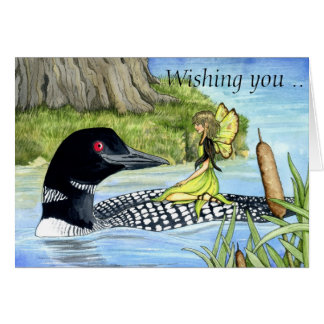 Lochieの水潜り鳥および女性スリッパ妖精カード グリーティングカード