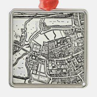 Logganのオックスフォードの東シートの地図 シルバーカラー正方形オーナメント