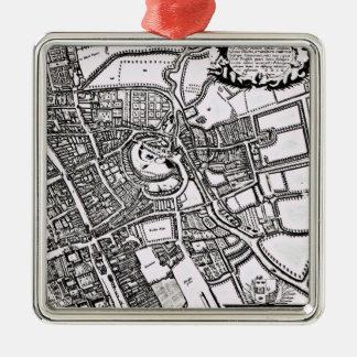 Logganのオックスフォードの西部シートの地図 シルバーカラー正方形オーナメント