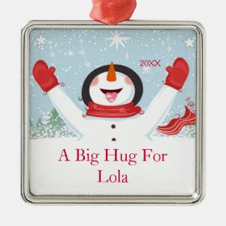 Lolaのクリスマスの雪だるまのオーナメントのための抱擁 メタルオーナメント