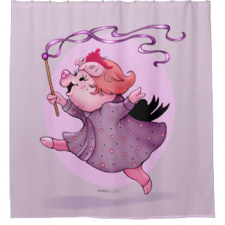 LOLAの豚のようなシャワー・カーテン シャワーカーテン