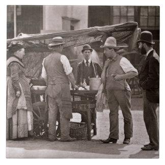 「Londの街の生活からの貝の販売人、 タイル