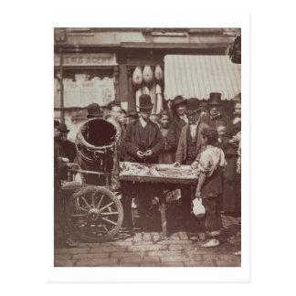 「Londの街の生活からのSt Gilesの安い魚、 ポストカード